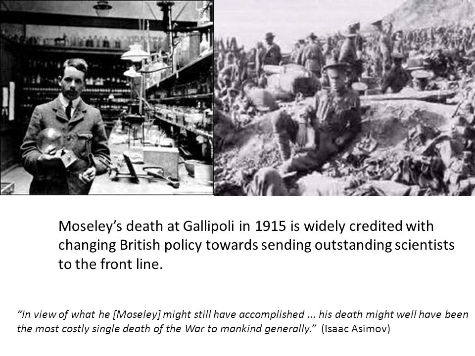 Moseley's death at Gallipoli in 1915 is widely credited with changing British policy towards sending outstanding scientists to the front line.