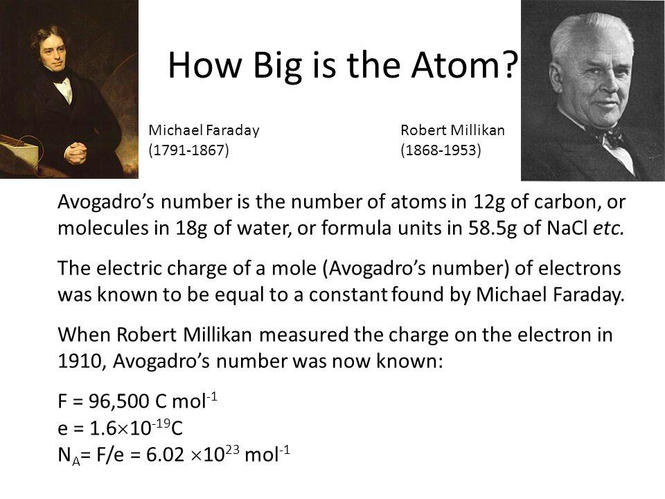 How Big is the Atom Michael Faraday. (1791-1867) Robert Millikan. (1868-1953)