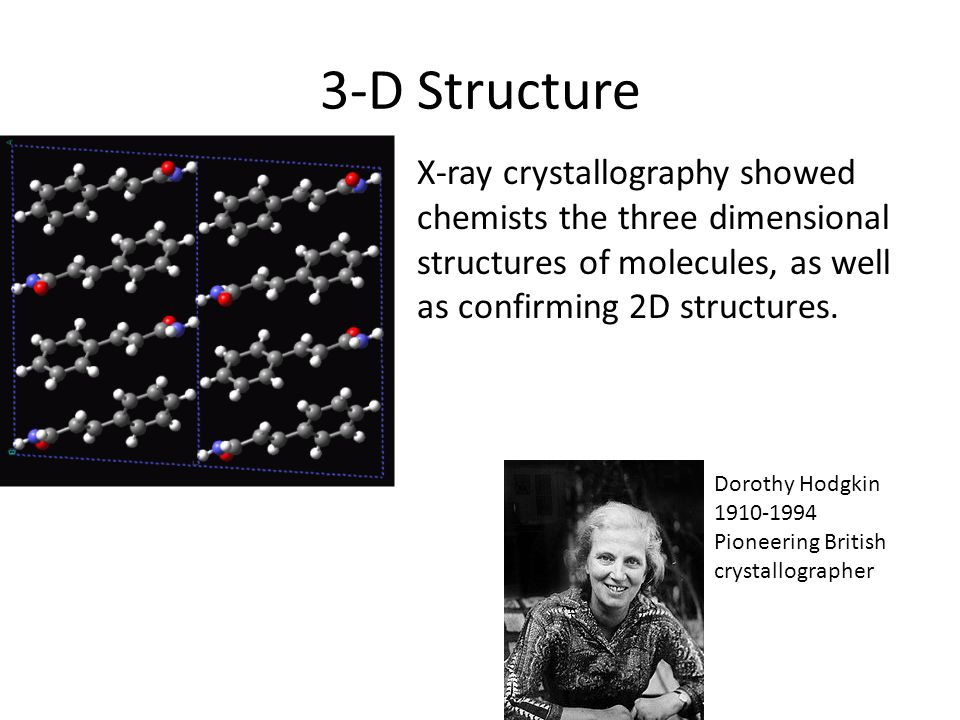 3-D Structure X-ray crystallography showed chemists the three dimensional structures of molecules, as well as confirming 2D structures.