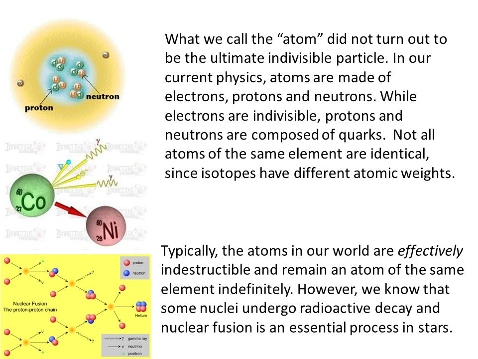 What we call the atom did not turn out to be the ultimate indivisible particle. In our current physics, atoms are made of electrons, protons and neutrons. While electrons are indivisible, protons and neutrons are composed of quarks. Not all atoms of the same element are identical, since isotopes have different atomic weights.