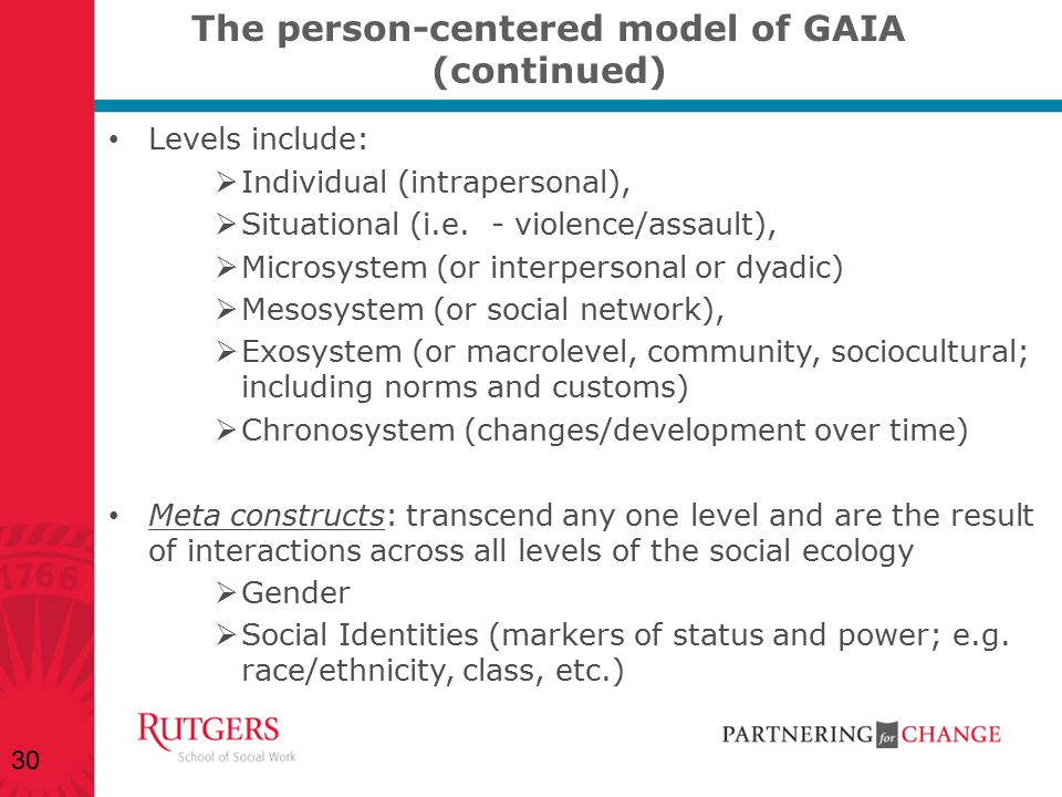 The person-centered model of GAIA (continued)