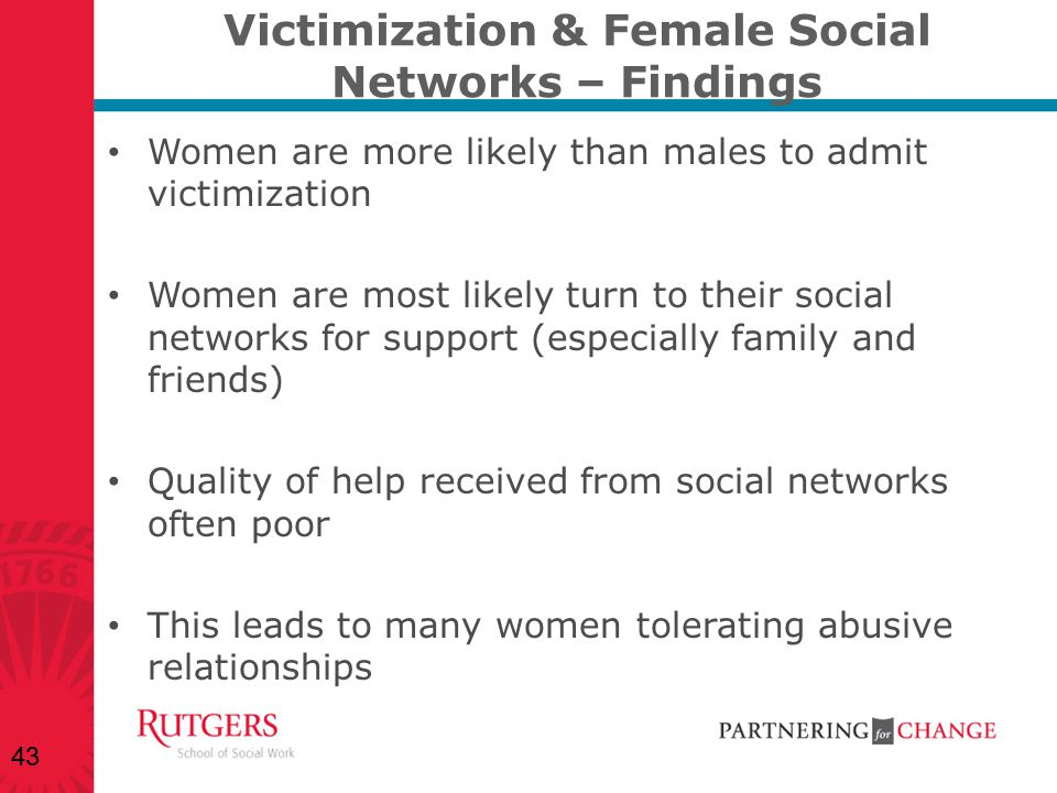 Victimization & Female Social Networks – Findings