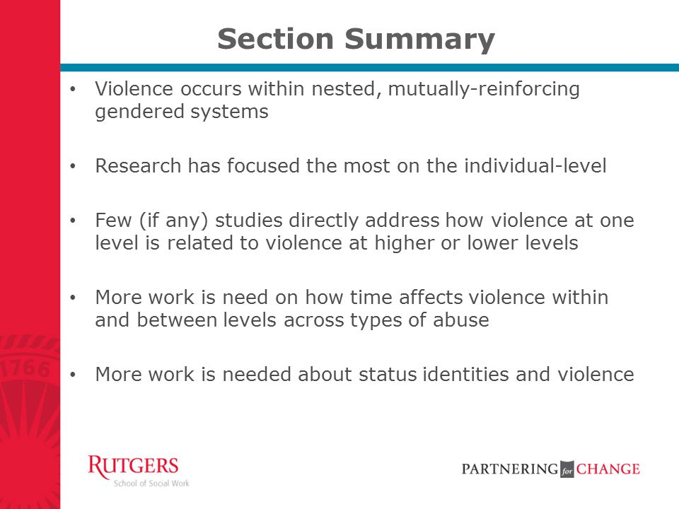Section Summary Violence occurs within nested, mutually-reinforcing gendered systems. Research has focused the most on the individual-level.