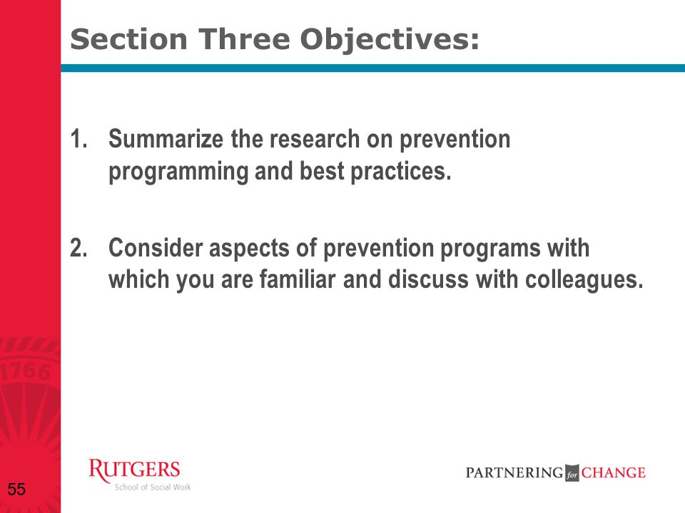 Section Three Objectives:
