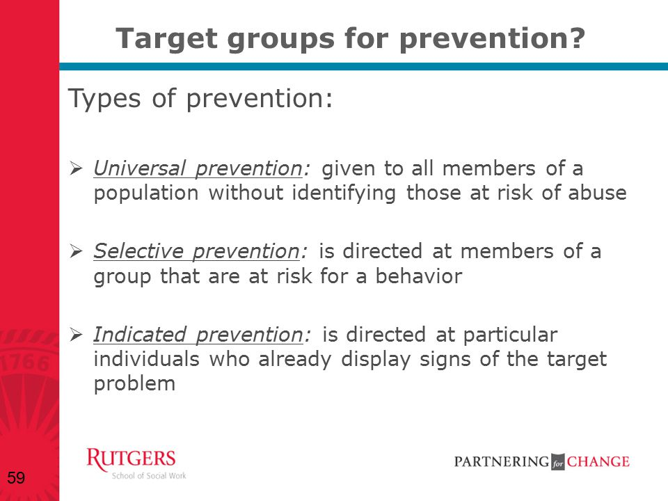 Target groups for prevention