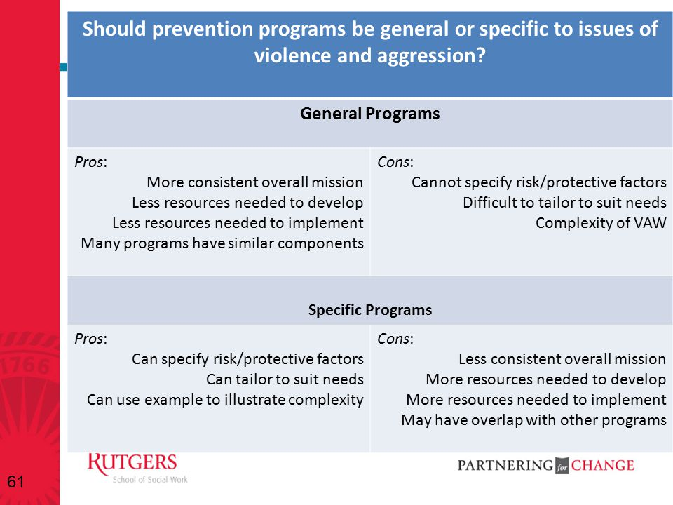 Should prevention programs be general or specific to issues of violence and aggression