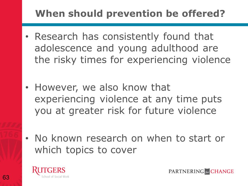 When should prevention be offered