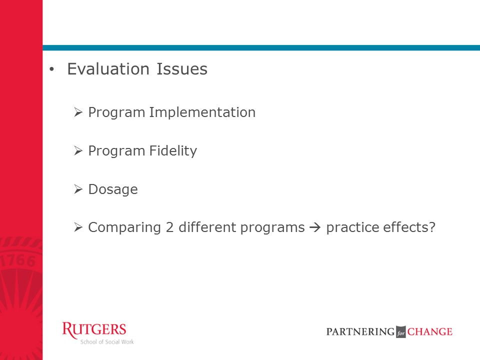 Evaluation Issues Program Implementation Program Fidelity Dosage