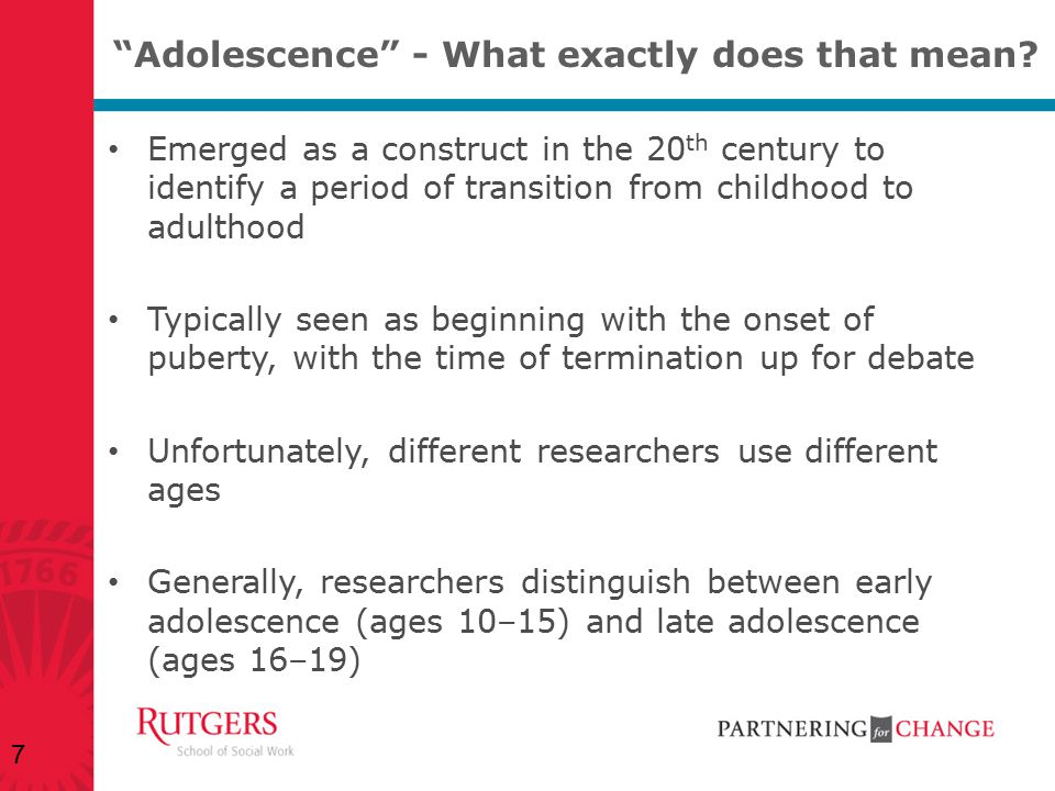 Adolescence - What exactly does that mean