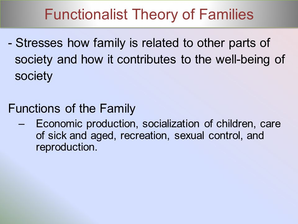 Functionalist Theory of Families