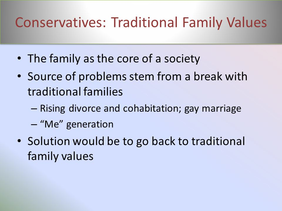 Conservatives: Traditional Family Values