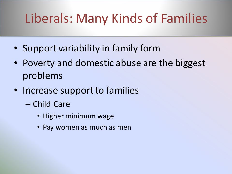 Liberals: Many Kinds of Families