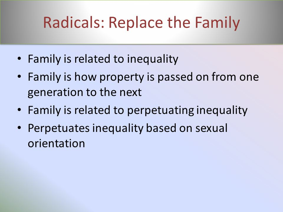 Radicals: Replace the Family