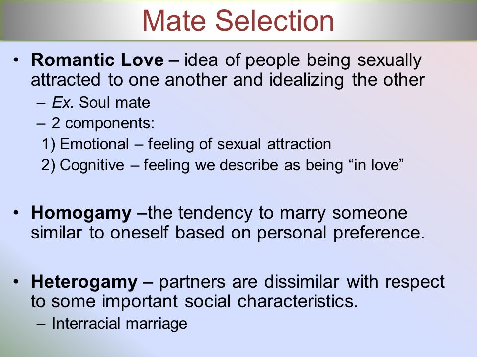 Mate Selection Romantic Love – idea of people being sexually attracted to one another and idealizing the other.