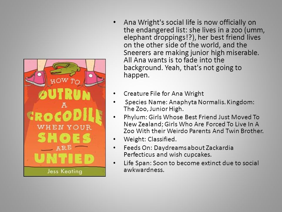 Ana Wright s social life is now officially on the endangered list: she lives in a zoo (umm, elephant droppings! ), her best friend lives on the other side of the world, and the Sneerers are making junior high miserable. All Ana wants is to fade into the background. Yeah, that s not going to happen.