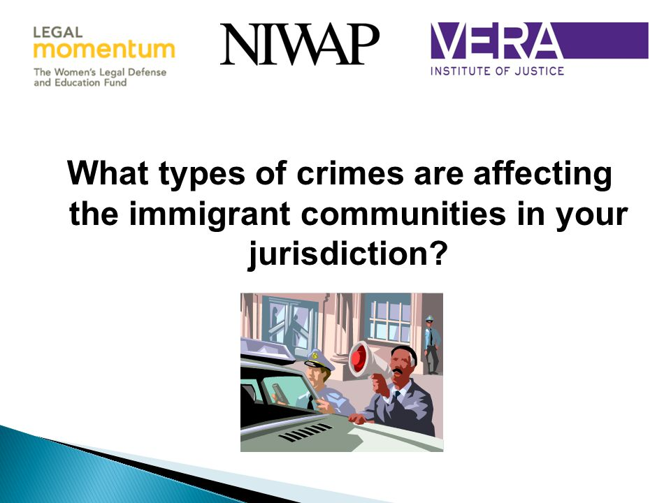 What types of crimes are affecting the immigrant communities in your jurisdiction