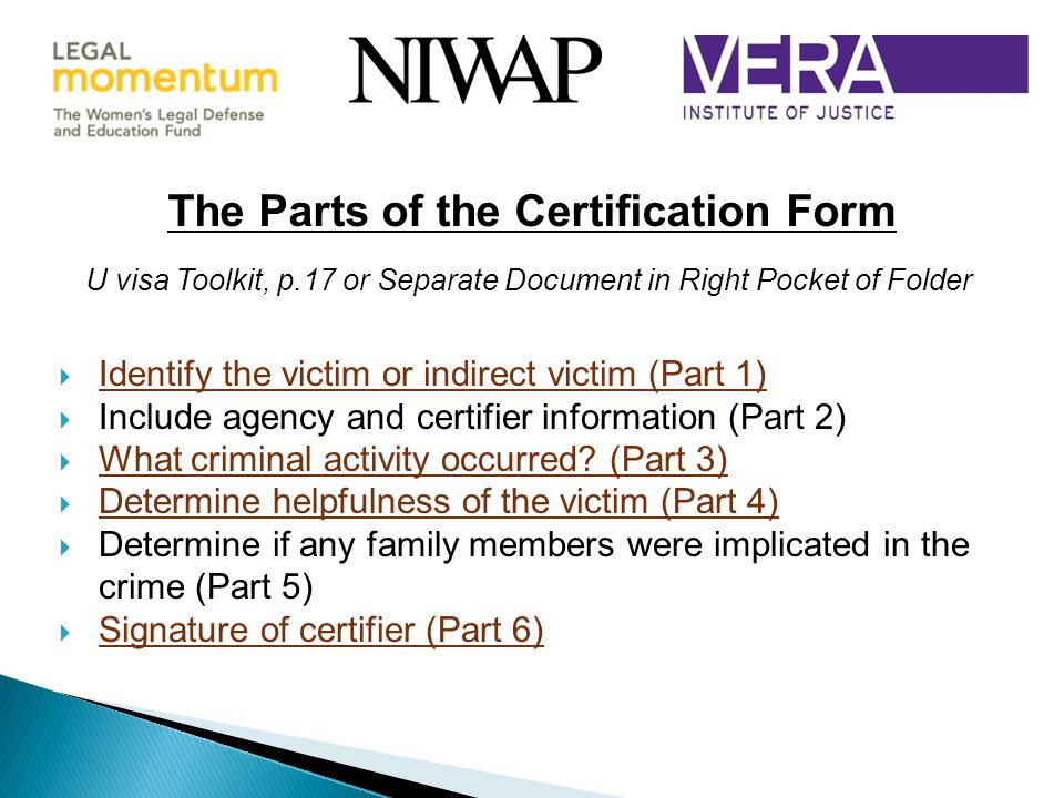 The Parts of the Certification Form