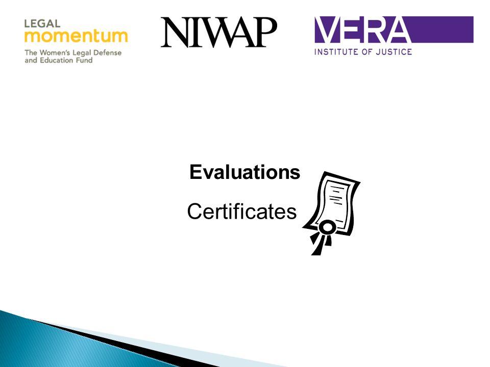 Evaluations Certificates