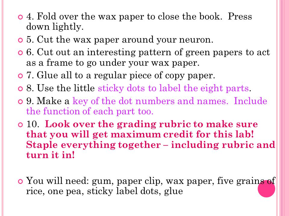 4. Fold over the wax paper to close the book. Press down lightly.