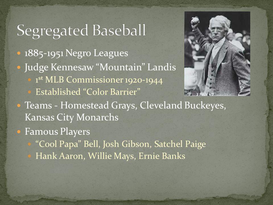 Segregated Baseball 1885-1951 Negro Leagues