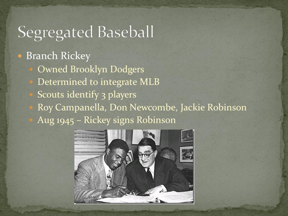 Segregated Baseball Branch Rickey Owned Brooklyn Dodgers