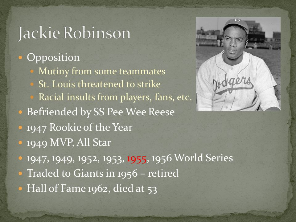 Jackie Robinson Opposition Befriended by SS Pee Wee Reese