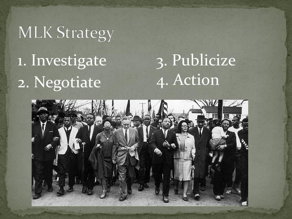 MLK Strategy 1. Investigate 2. Negotiate 3. Publicize 4. Action