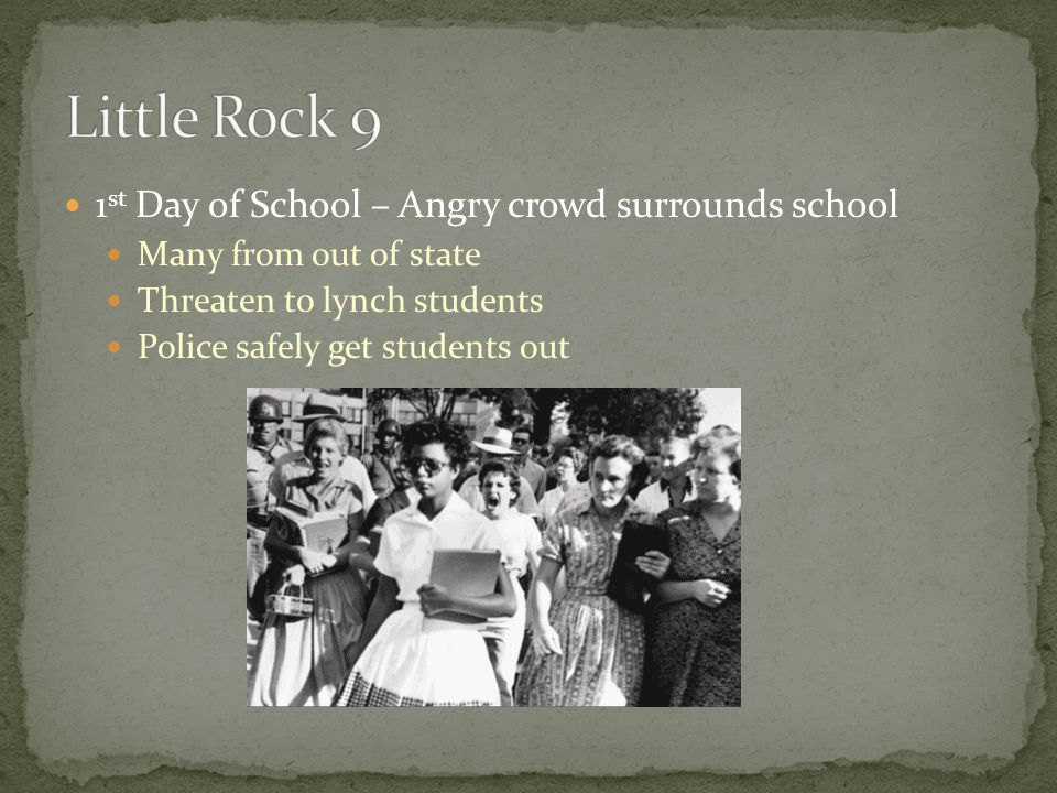 Little Rock 9 1st Day of School – Angry crowd surrounds school