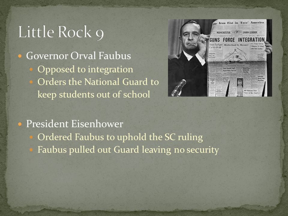 Little Rock 9 Governor Orval Faubus President Eisenhower