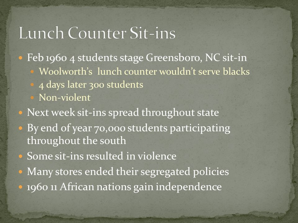 Lunch Counter Sit-ins Feb 1960 4 students stage Greensboro, NC sit-in