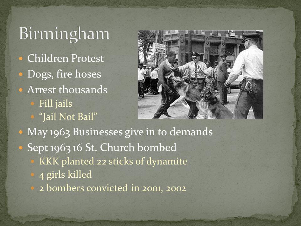 Birmingham Children Protest Dogs, fire hoses Arrest thousands