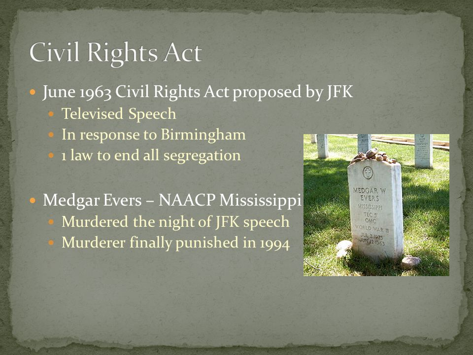 Civil Rights Act June 1963 Civil Rights Act proposed by JFK