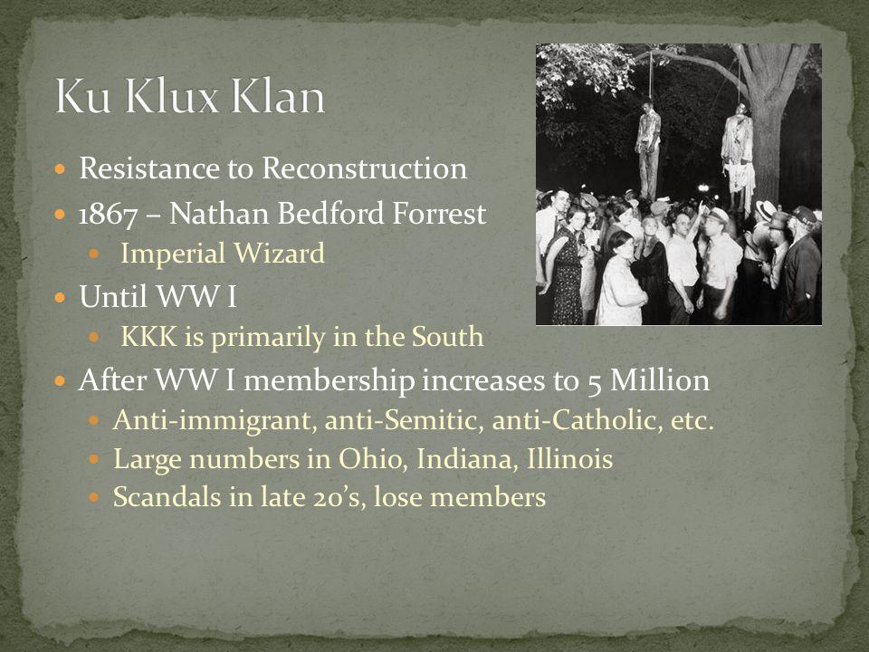 Ku Klux Klan Resistance to Reconstruction