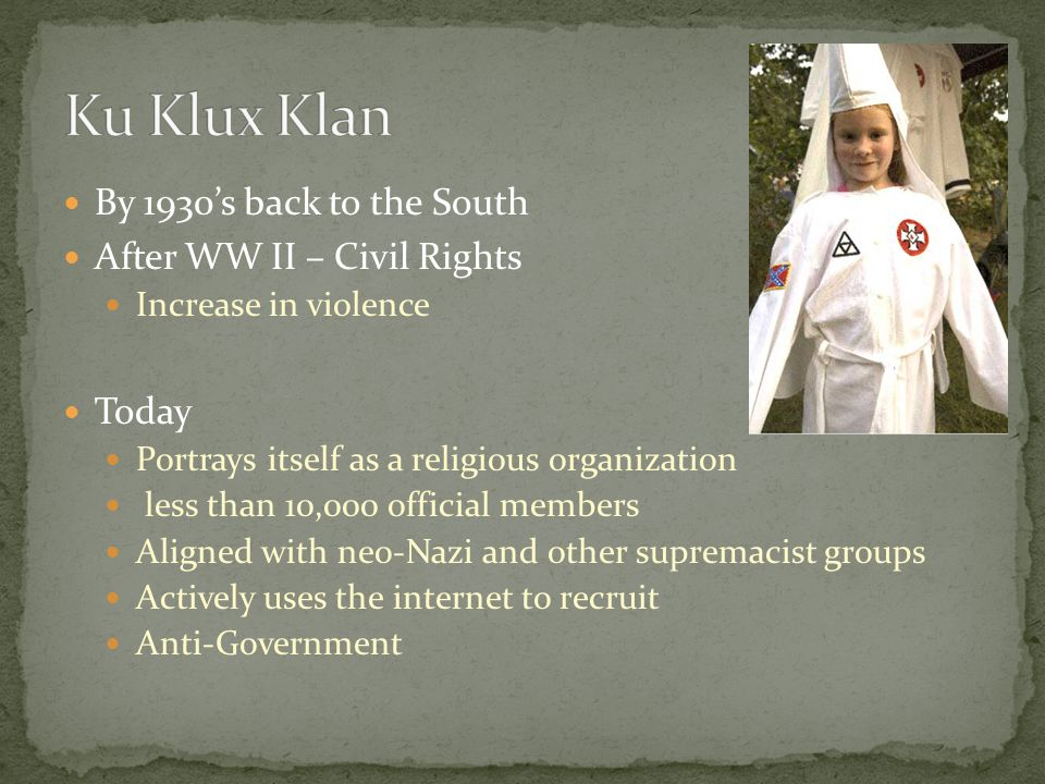 Ku Klux Klan By 1930's back to the South After WW II – Civil Rights