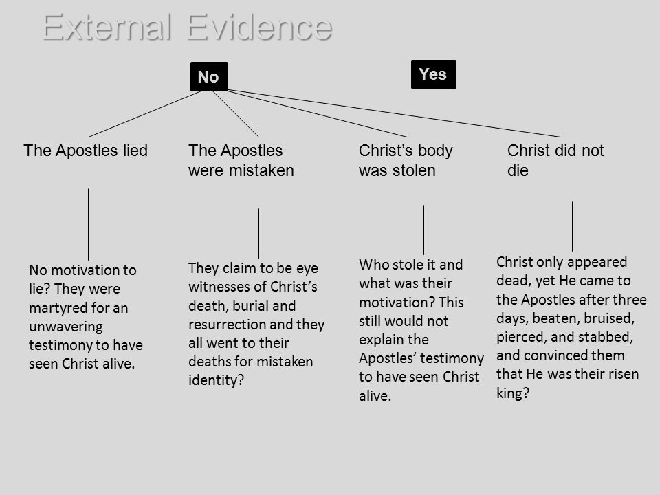 External Evidence No Yes The Apostles lied The Apostles were mistaken