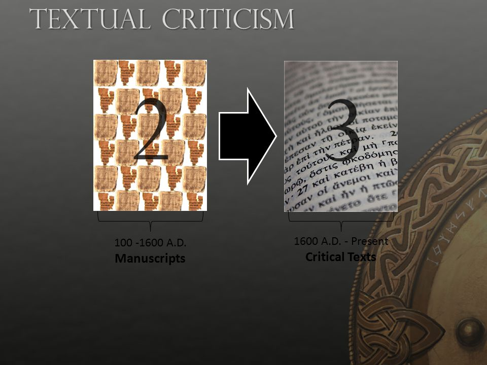 Textual Criticism Critical Texts 100 -1600 A.D. Manuscripts