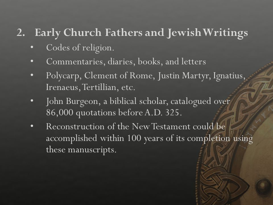 Early Church Fathers and Jewish Writings