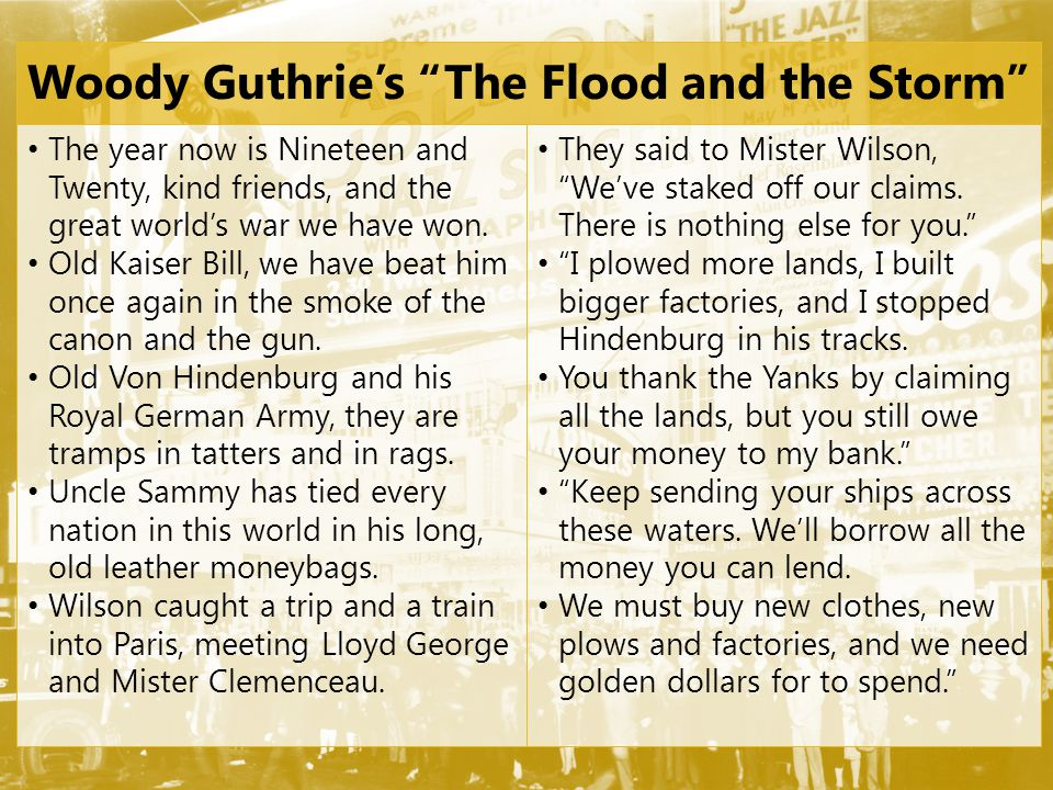 Woody Guthrie's The Flood and the Storm