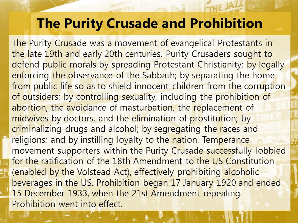 The Purity Crusade and Prohibition