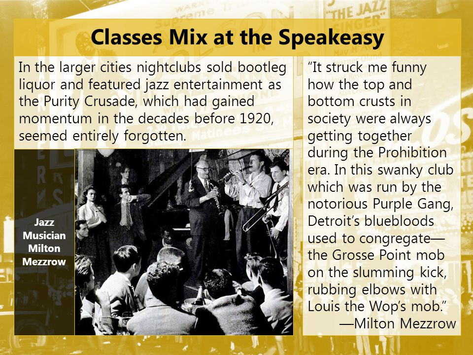 Classes Mix at the Speakeasy