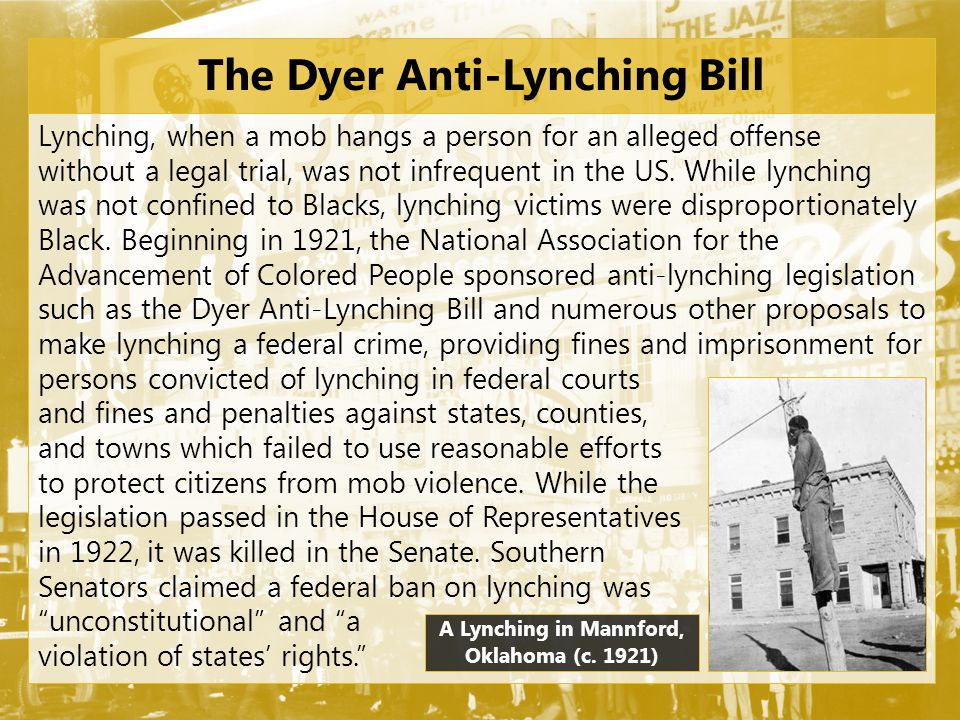 The Dyer Anti-Lynching Bill