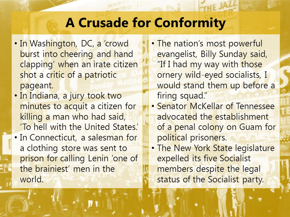 A Crusade for Conformity