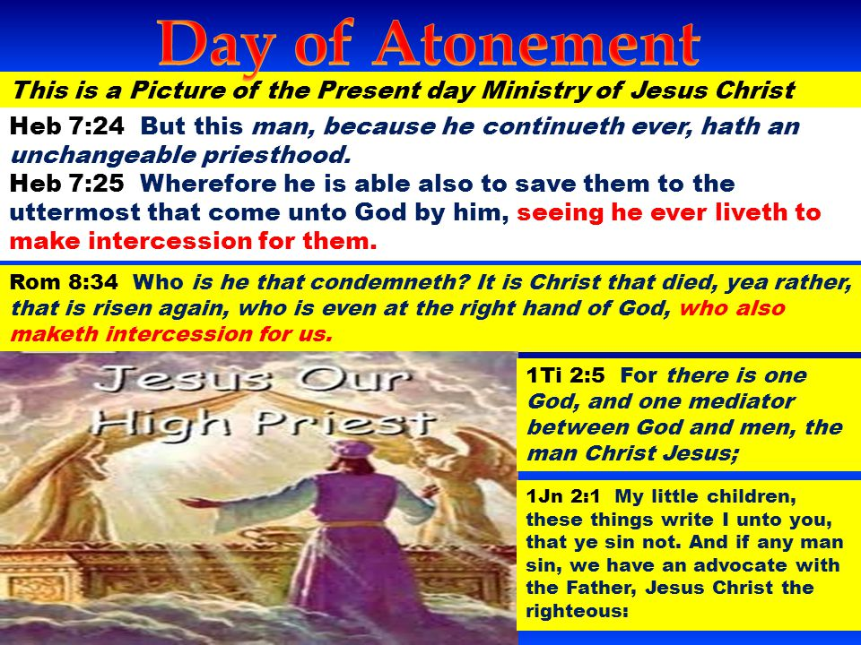 Day of Atonement This is a Picture of the Present day Ministry of Jesus Christ.