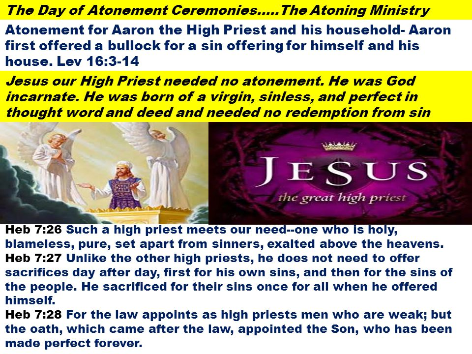 The Day of Atonement Ceremonies…..The Atoning Ministry