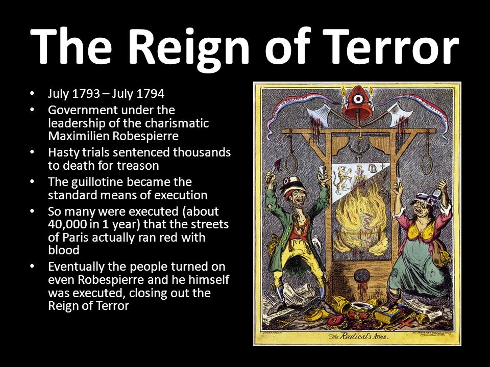 The Reign of Terror July 1793 – July 1794