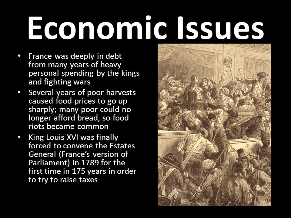 Economic Issues France was deeply in debt from many years of heavy personal spending by the kings and fighting wars.