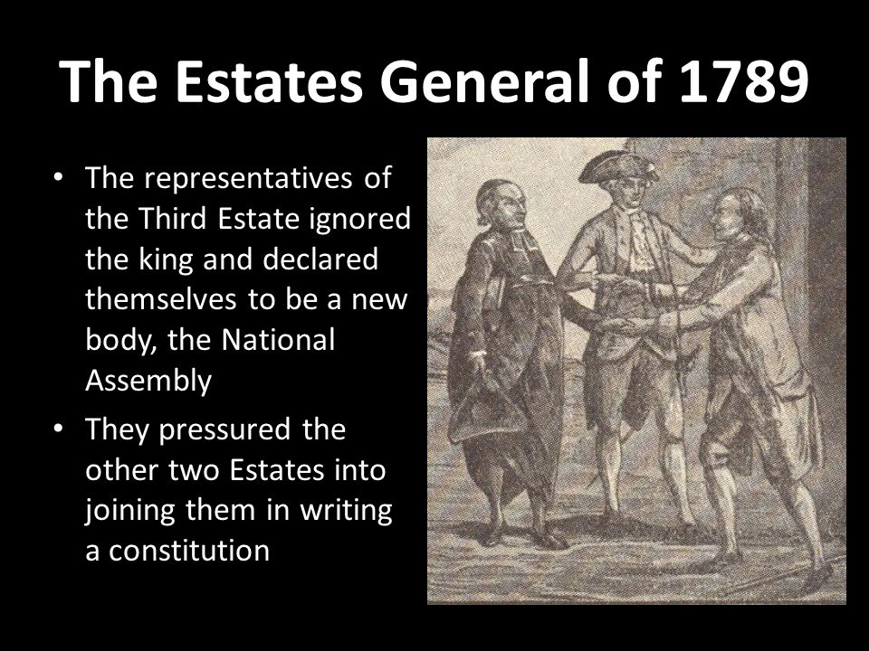 The Estates General of 1789 The representatives of the Third Estate ignored the king and declared themselves to be a new body, the National Assembly.