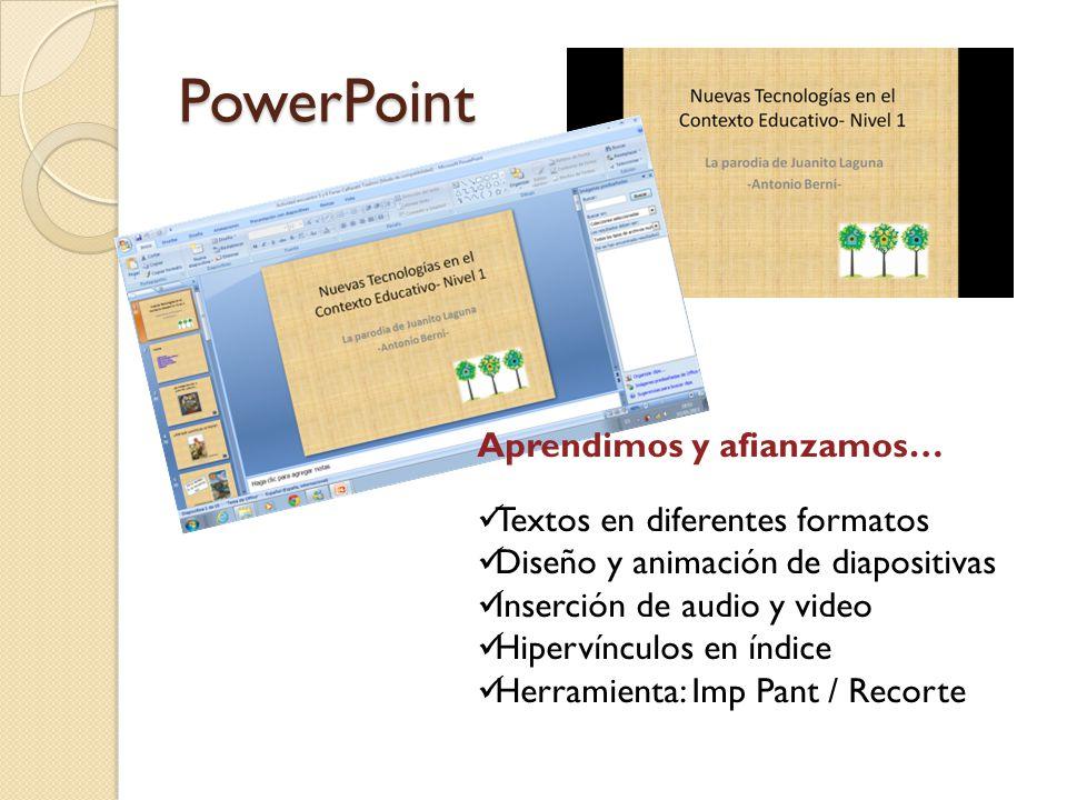 PowerPoint Aprendimos y afianzamos… Textos en diferentes formatos