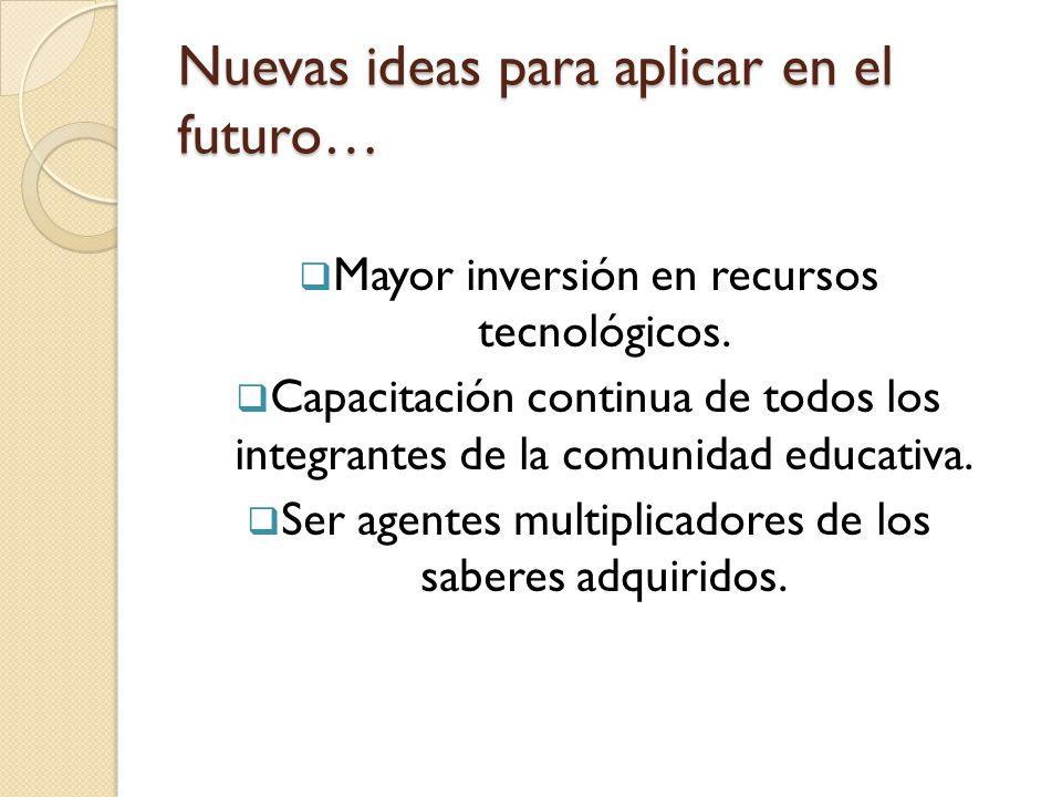 Nuevas ideas para aplicar en el futuro…
