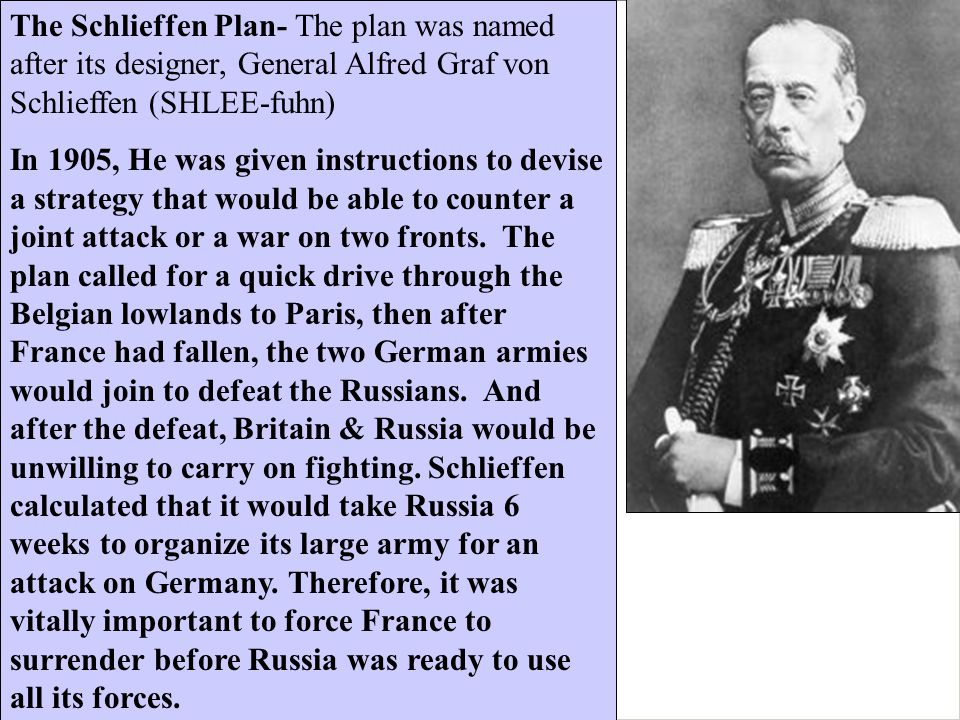 The Schlieffen Plan- The plan was named after its designer, General Alfred Graf von Schlieffen (SHLEE-fuhn)